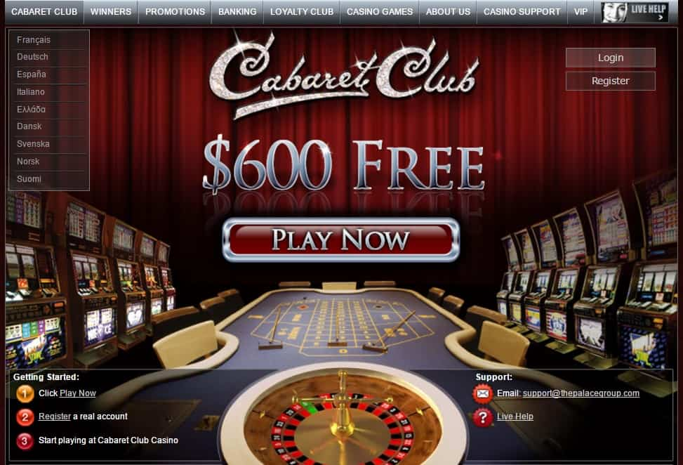 Cabaret Club 100% bonus and 50 free spins