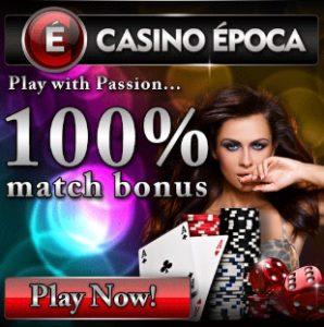 Casino Epoca | €5 no deposit or 50 free spins + 100% up to €200 bonus