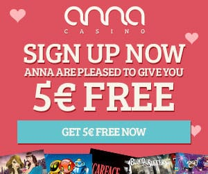 Anna Casino - 90 free spins NDB and 100% up to €200 bonus