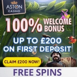 Aston Casino | £200 bonus and no deposit free spins | Big wins!