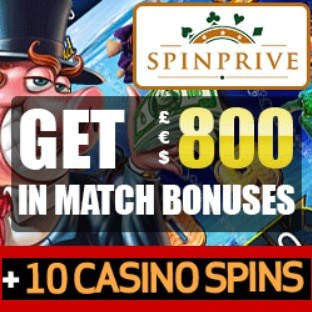 Spin Prive Casino 10 free spins no deposit and €800 bonus promo