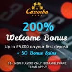 Casimba Casino 125 spins bonus + 325% up to €6,500 free credits