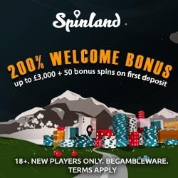Spinland Casino Online & Mobile: £3500 bonus   200 extra spins