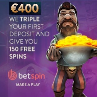 Betspin Casino 150 free spins and $400 free bonus