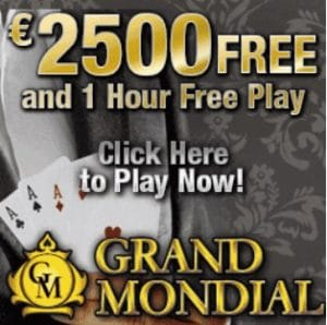 Grand Mondial Casino - €2500 free play & free spins - no deposit bonus