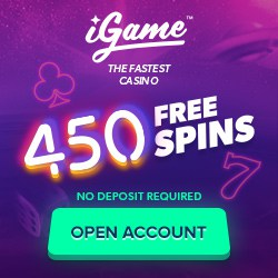 iGame Casino Review: 450 no deposit free spins   100% free bonus
