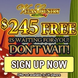 Vegas Country Casino | 50 free spins and 150% up to£€$ 245 free bonus