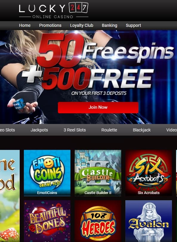 Lucky247 Casino - 50 free spins and 175% welcome bonus
