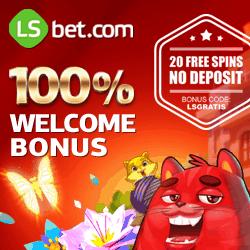 LSbet Casino & Sports | 20 extra free spins   100% up to €300 bonus