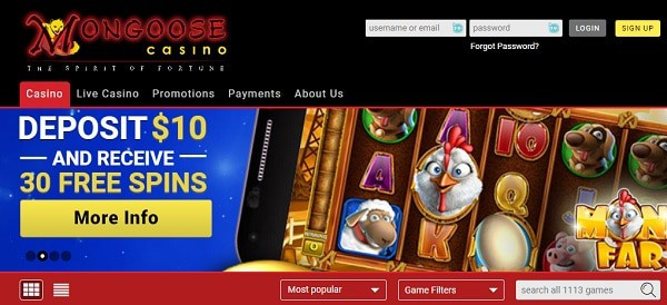MongooseCasino.com 30 gratis spins no deposit required