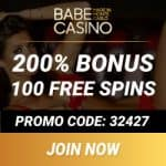 Babe Casino €3450 bonus   3000 free play games   100 free spins