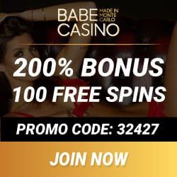 Babe Casino €3450 bonus   3000 free play games   100 free spins