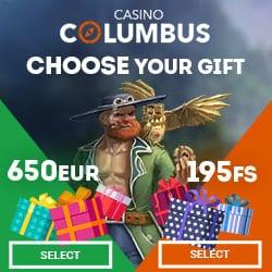 Columbus Casino 195 free spins or €650 free cash - choose your bonus!