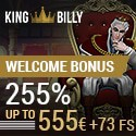 King Billy Casino 255% up to 555 EUR free bonus and 73 free spins