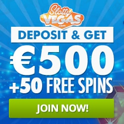 Slotty Vegas Casino 50 free spins + 100% welcome bonus