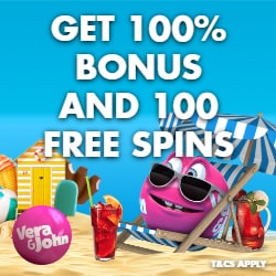 Vera John Casino 100% up to €500 bonus and 123 free spins no deposit