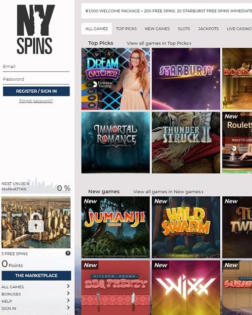 NYSpins Casino free spins bonus