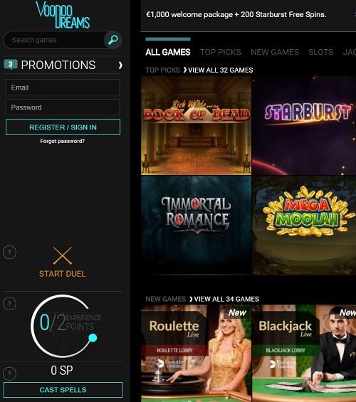 Voodoo Dreams Casino free spins bonus