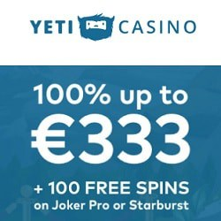 Yeti Casino 100 gratis spins and €300 free bonus on sign up