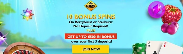 Gday Casino exclusive welcome bonus - 10 no deposit free spins