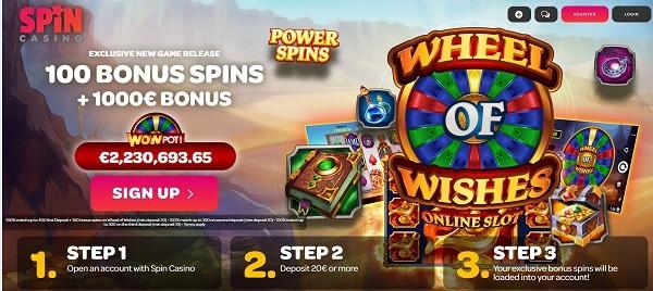 100 bonus spins on registration