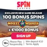 Spin Casino exclusive offer: 100 free spins on Wheel of Wishes!