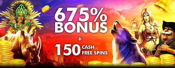 25 free spins + 675% welcome bonus + 150 cash spins at Tangiers Casino