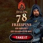 Avalon78 Casino 78 free spins bonus no deposit required