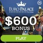 Euro Palace Casino 100 exclusive free spins bonus on registration