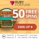 Ruby Fortune Casino €750 & 50 free spins no deposit bonus code