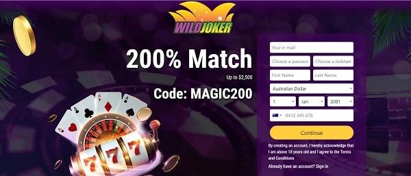 200% bonus (free code) and 50 free spins on pokies