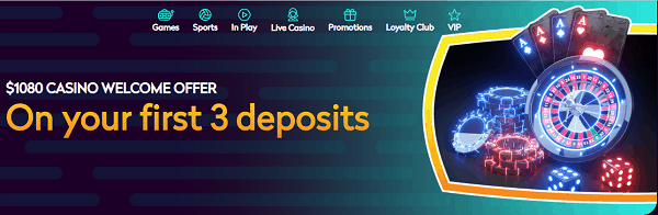 Get $1080 free on your first 3 deposits!