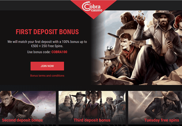 Cobra Welcome Bonus and Free Spins Promotion