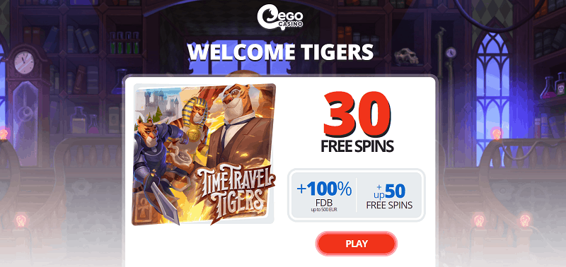 Register at Ego and play 30 free spins instantly!