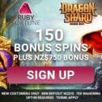 Get 150 free spins bonus on Dragon Shard at Ruby Fortune!